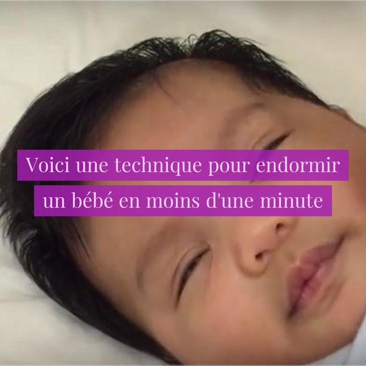 Je vous invite à tester une technique pour endormir un bébé en moins d'une minute : il s'agira de caresser doucementson visage avec un tissu fin. Regardez :  Et si cela ne fonctionne pas, essayez le bruit blanc.