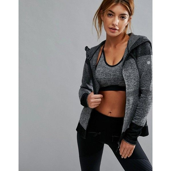 Asics Training Seamless Jacket In Black (153 CAD) ❤ liked on Polyvore featuring activewear, activewear jackets, black, asics sportswear, retro sportswear, logo sportswear and asics