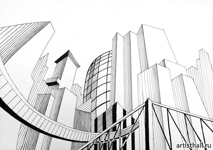 Варианты выполнения задания Мегаполис - 2 #art #design #draw #композиция #графика #мегаполис #artworkshop #artisthall