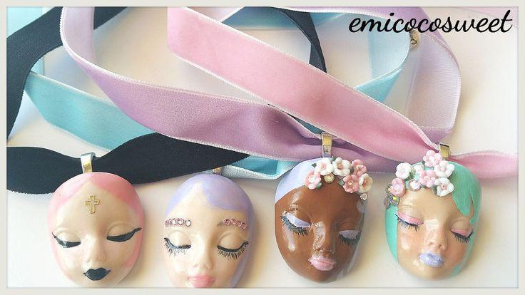 Kawaii Lolita Doll Head Choker Collar Necklace,Handmade Kawaii Cute Doll Choker