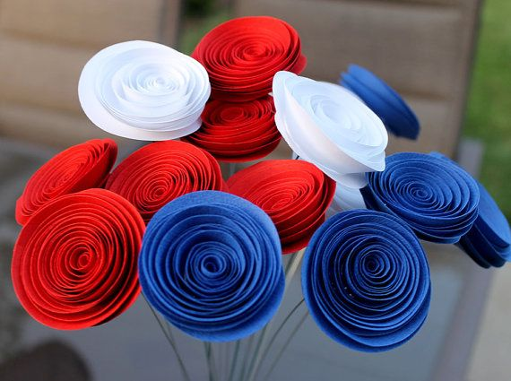 Red White and Blue Patriotic Spiral Paper Flower Bouquet  - Veteran - 4th of July -Centerpiece - Party Decor -