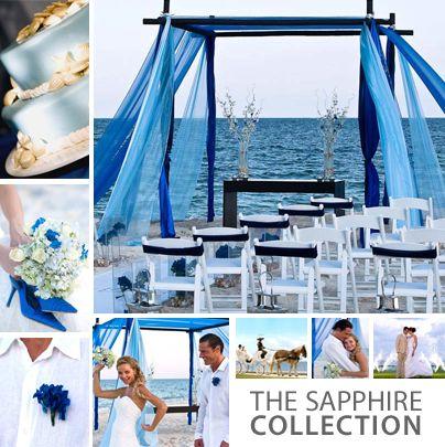 Our beach wedding setup - love all the blue hues!
