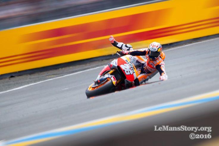 Large image of pedrosa motogp crash in Le Mans grand prix 2016