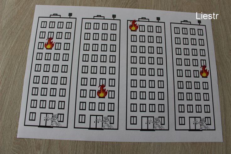Werkblad thema brandweer. Laat de kleuters een ladder knutselen die zo lang is, dat de brandweerman bij de brand kan. *liestr*