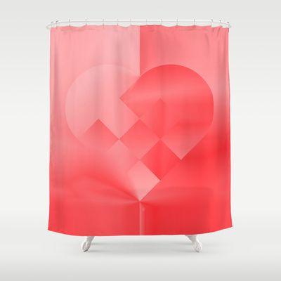 Danish Heart Love Shower Curtain by Gréta Thórsdóttir - $68.00  #love #heart #girly #Christmas #red #scarlet #ombre #pattern #bathroom