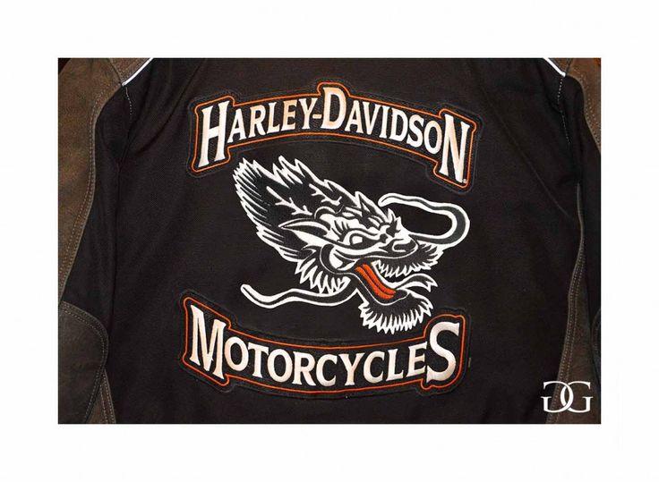 Pièce unique. Écusson à façon pour un blouson de moto Harley Davidson. 2015