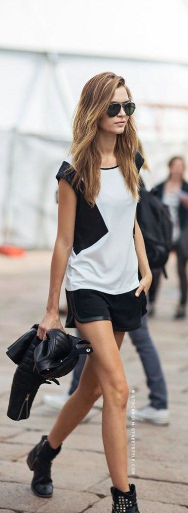 Edgy summer outfit idea, studded ankle boots, work boots, leather shorts