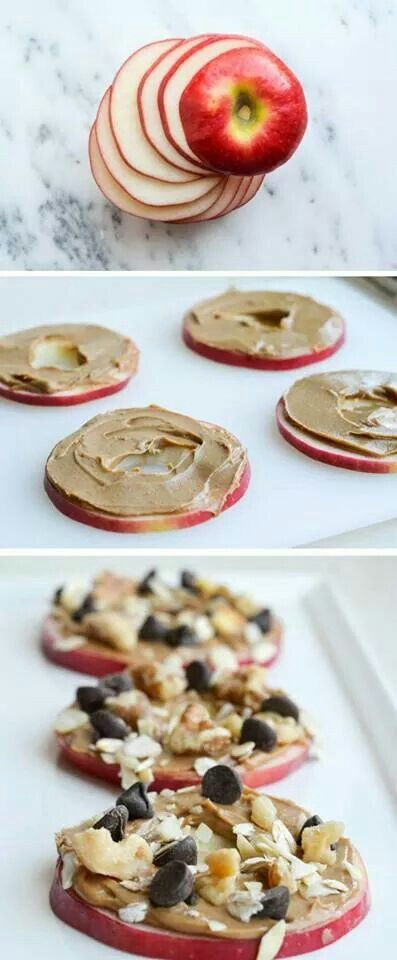 Apple slice treats: core and slice, spread on peanut butter, add chocolate chips, nuts and/or coconut
