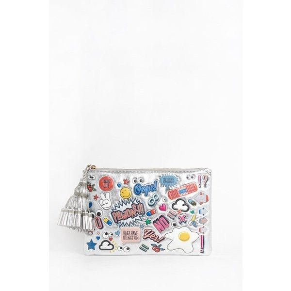 ANYA HINDMARCH 'Georgiana ' All Over Stickers Soft Metallic Capra... ($875) ❤ liked on Polyvore featuring bags, handbags, clutches, silver, silver handbags, silver metallic purse, anya hindmarch purse, white clutches and silver clutches