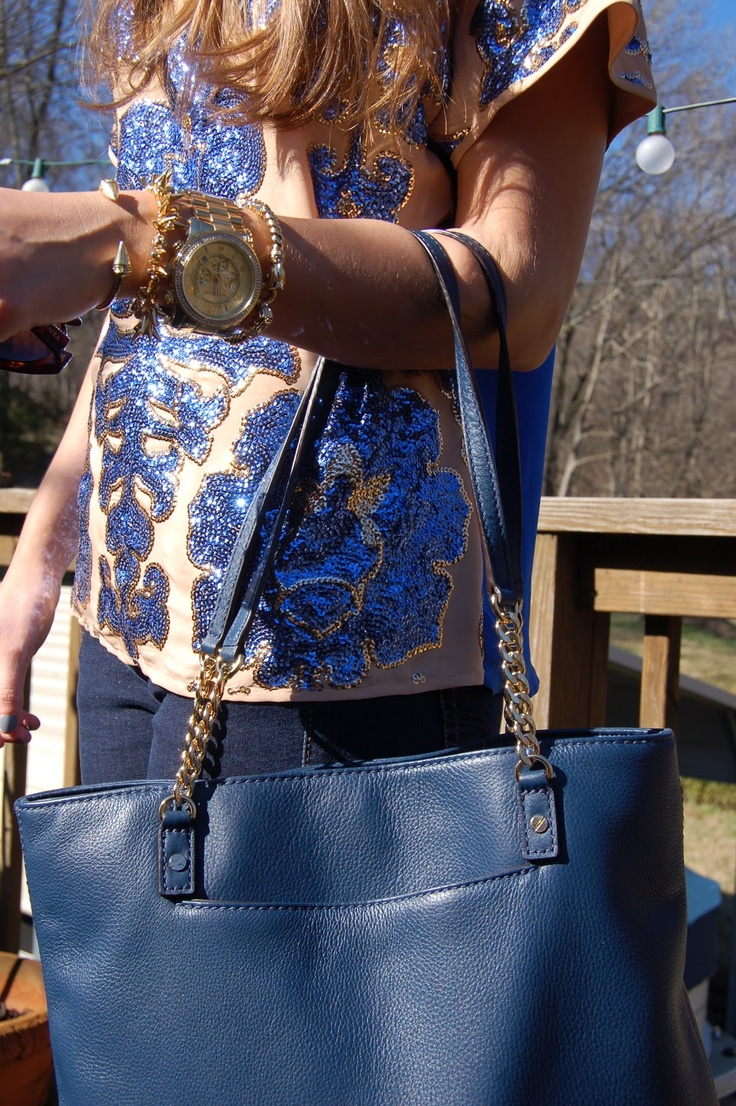 Neiman Marcus for Target top, Michael Kors bag, Michael Kors watch with Stella and Dot bracelets @Fringe and Lace #armcandy #glitzandglam