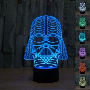 Star War Darth Vader 3D optical illusion night color change USB Touch button LED desk table light lamp 7 Color change: Red, Green, Blue, Yellow, Cyan, Pink, White. Comes with USB power adapter.