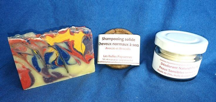 Coffret Les Essentiels de Madame Savon Surgras Shampooing Solide Déodorant Naturel : Soin, bien-être par lesbullespaysannes