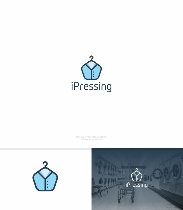 iPressing is an online app for dry cleaning and laundry delivery service. A flat design showing a shirt on a hanger. #logo #technology #apparel