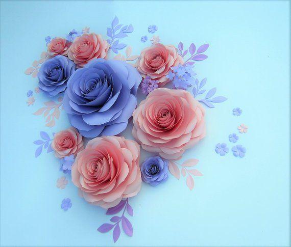 Paper Flowers Set Large Paper Roses Flower Backdrop Nursery Etsy