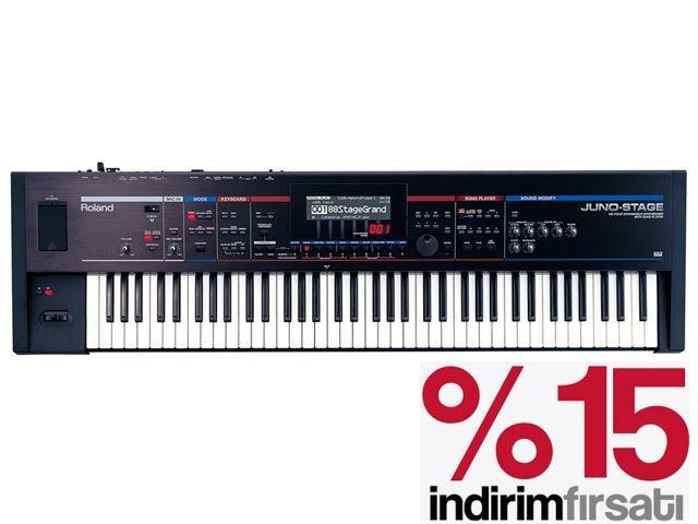 Roland JunoStage %15 İndirimli Son Bir adet  http://www.webmuzikmarket.com/JUNO-Sahne-Synthesizer,PR-15857.html