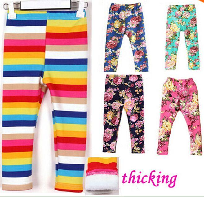 Venta caliente nuevos pantalones apretados del arco iris de flores niñas mezclilla arco pantalones niños pantalones de algodón niños cintura elástica legging los pantalones calientes al por menor(China (Mainland))