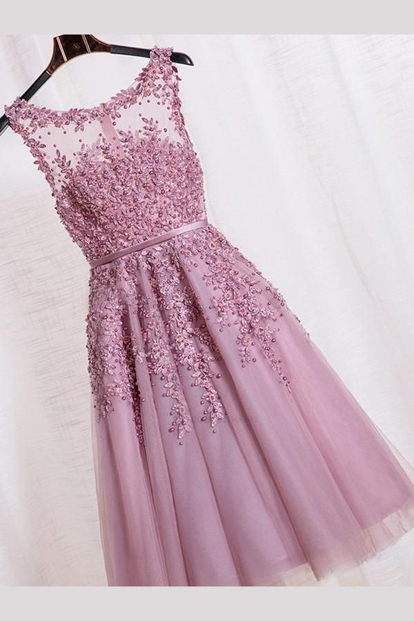 67a88f7a3cd3a Homecoming Dresses For Cheap, Prom Dresses 2018, Homecoming Dresses Simple,  Pink Homecoming Dresses, Lace Prom Dresses #HomecomingDressesForCheap ...