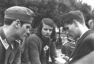 Hans Scholl, Sophie Scholl, and Christopher Probst, University of Munich students who, in 1941, started the White Rose group. This anti-Nazi group practiced passive resistance, publishing and distributing leaflets calling for the restoration of democracy and publicizing the atrocities of the Nazis.  These three were convicted of treason by the Nazi German state and were beheadded hours later.