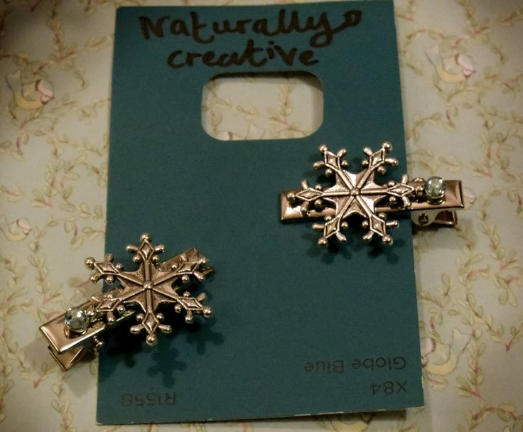 Naturally Creative Children's SNOWFLAKE HAIR CLIPS x2 with blue rhinestones in silver, Christmas gift or stocking filler by AndroidsandApes on Etsy