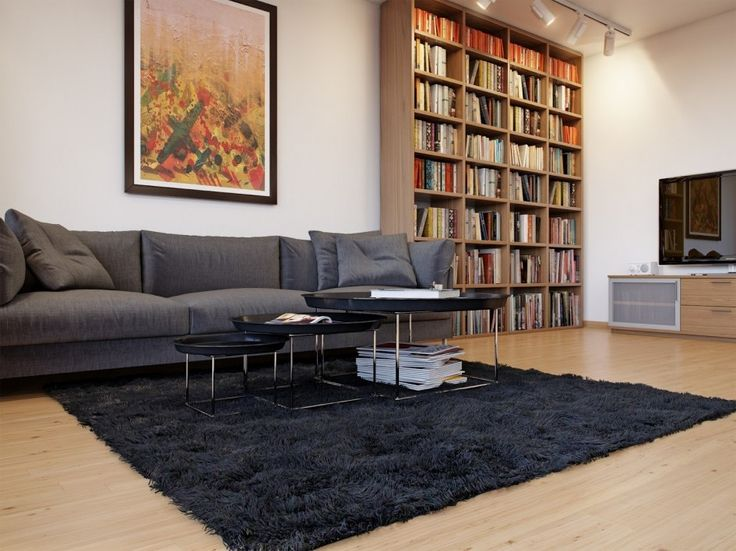 Interior:Remarkable Scandinavian Interior Design Living Room Ideas With Gray Sofas Cushions Three Level Table On Black Fur Rugs Laminate Wood Flooring Bookshelf Picture Frame Pendant Lights Flat Screen Tv On Vanity Living Room? Think about the Scandinavian Interior Design Living Room