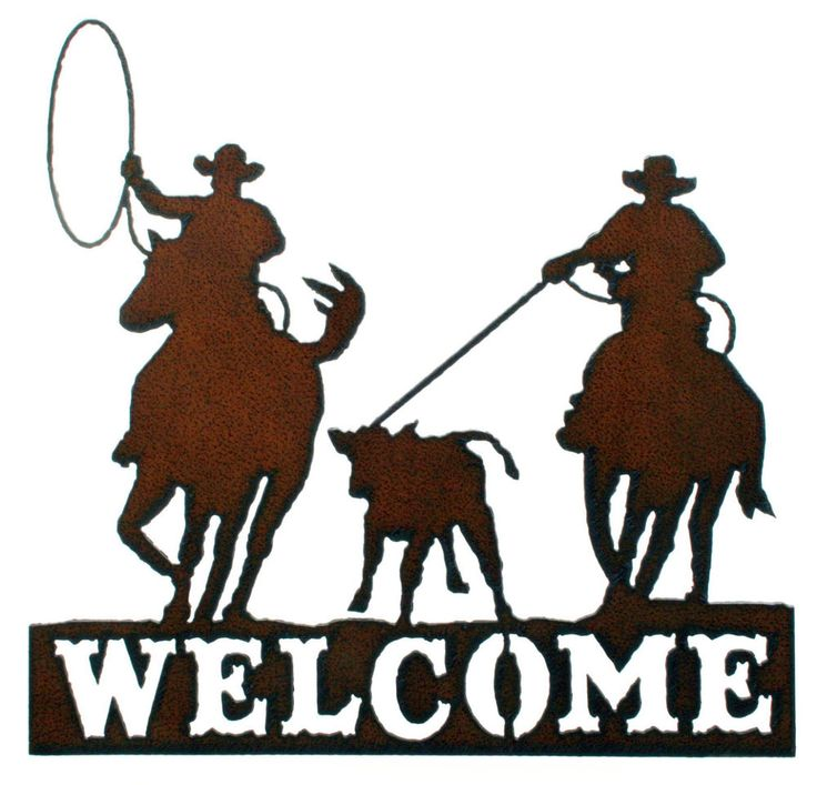 "Team Roper Welcome Sign Would look Great on your Arena Gate! 12 "" H x 12 1/4"" wide Made in USA Cowboy Hat to Hoof 7 1/2"" Horse Nose to Tail 4"" Lasso Loop Lasso stretched 4"" 4"" x 2 1/2"" Calf 3"" x 3"" We"