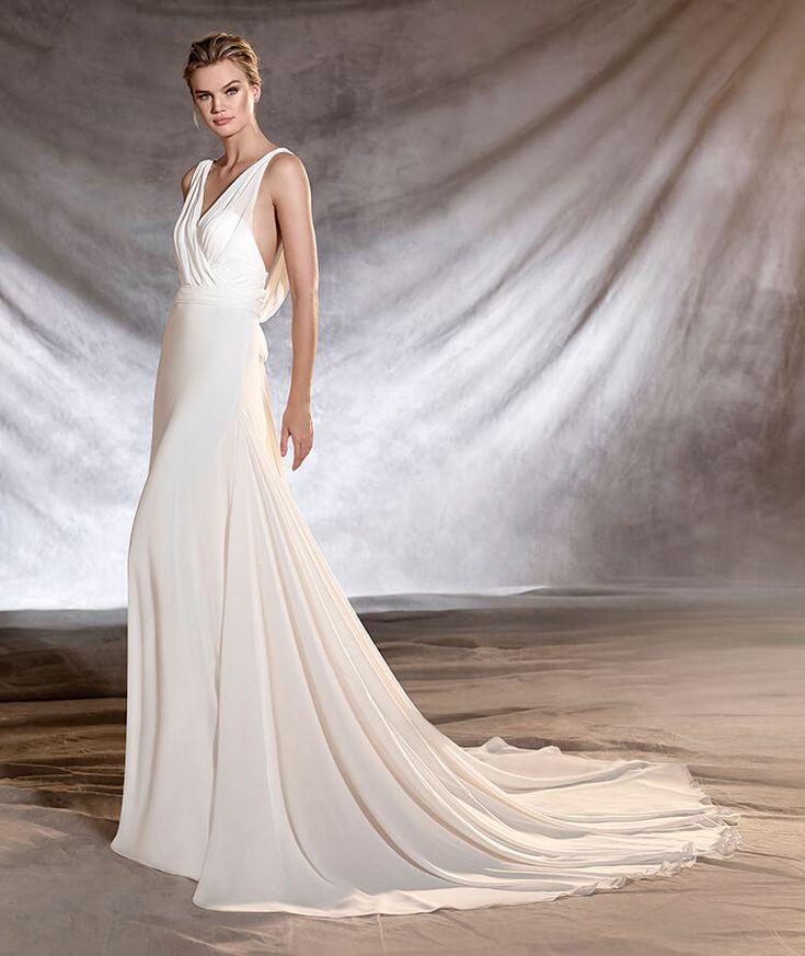 OSLO - Robe de mariée en gaze, taille basse et décolleté en V