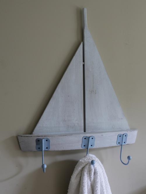 Blue coastal boat hooks shabby distressed chic bathroom hallway kitchen