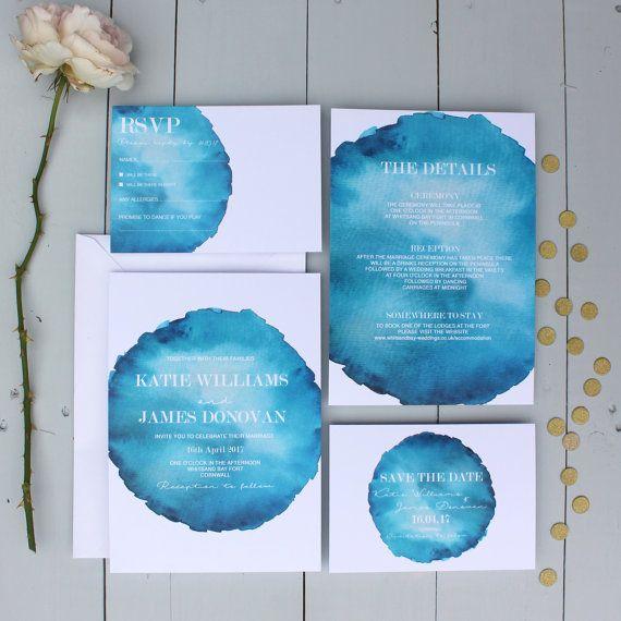 Watercolour Wedding  Invitation Blue Wedding by BeijaFlorStudio