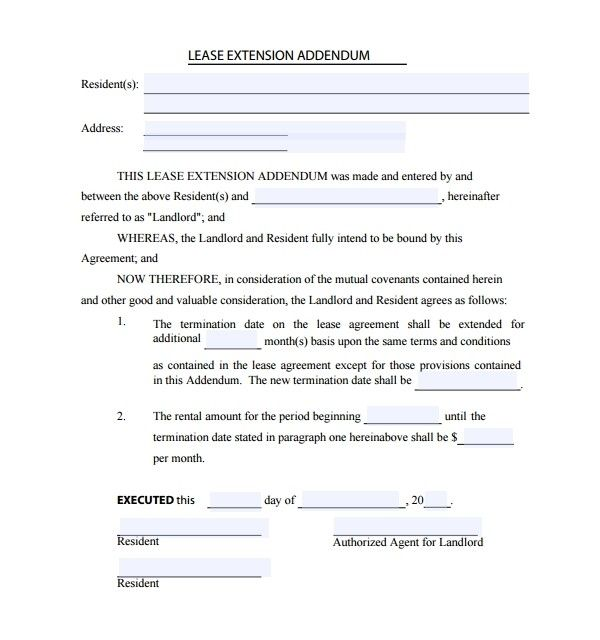 Lease Addendum Template Being A Landlord Lease Templates