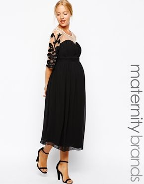 Enlarge Little Mistress Maternity Midi Dress With Embroidered Sleeves