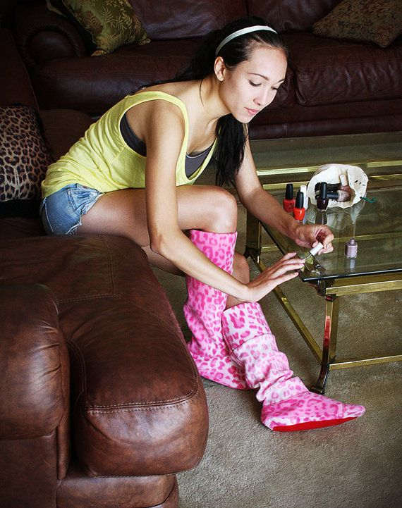 NEW YEAR SALE Pink Cheetah Signature Sole Socks by Cozyins. The Fun and Functional Lounge In Wear Out  Sock for comfort and warmth