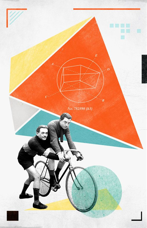 Bicycle No2 Collage Poster 11x17in by reconstructingideas on Etsy, $20.00