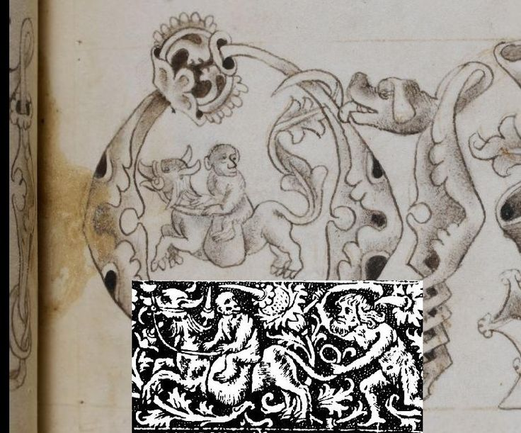 This is where we came ion, or rather, the point at which I felt I'd reached 'critical mass' and where these disproportionately influential yet almost unknown motifs merited their own board! Detaul of the letter Q from one of the early 16C alphabets in the Macclesfield Alphabet Book