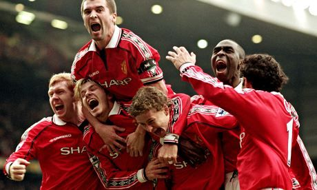 Winning streak: Paul Scholes, David Beckham, Roy Keane, Andy Cole and Ryan Giggs celebrate beating Liverpool in the fourth round of the 1999 FA Cup.