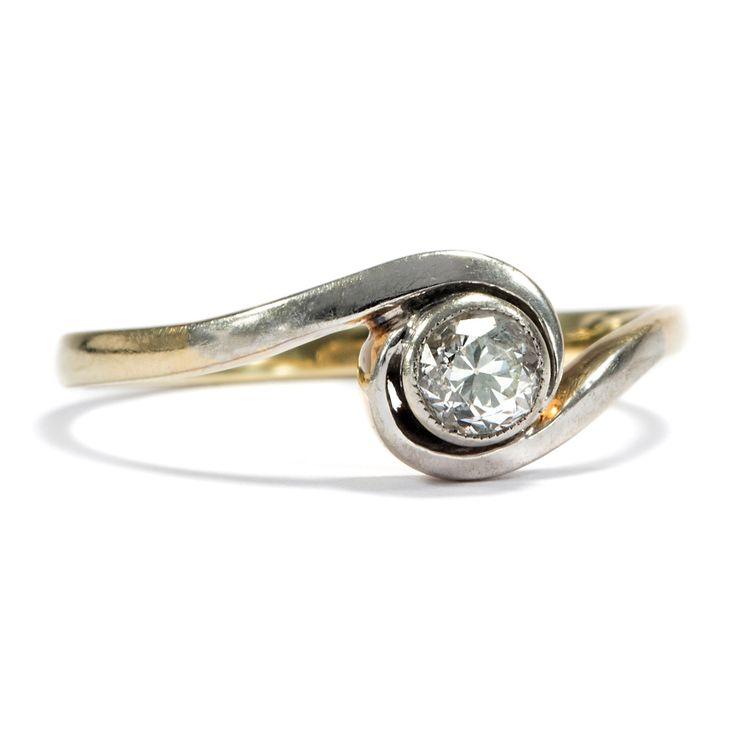 Jugendstil-Ring aus Gold und Platin mit 0,18 ct Altschliff-Solitär - 1910