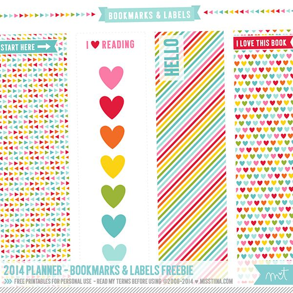 Free Printable Bookmarks and Labels from MissTiina.com {Blog}