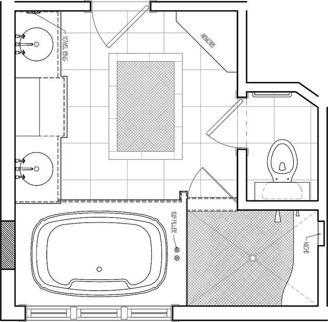 Master bathroom floor plan bathroom pinterest for Master bathroom layout dimensions