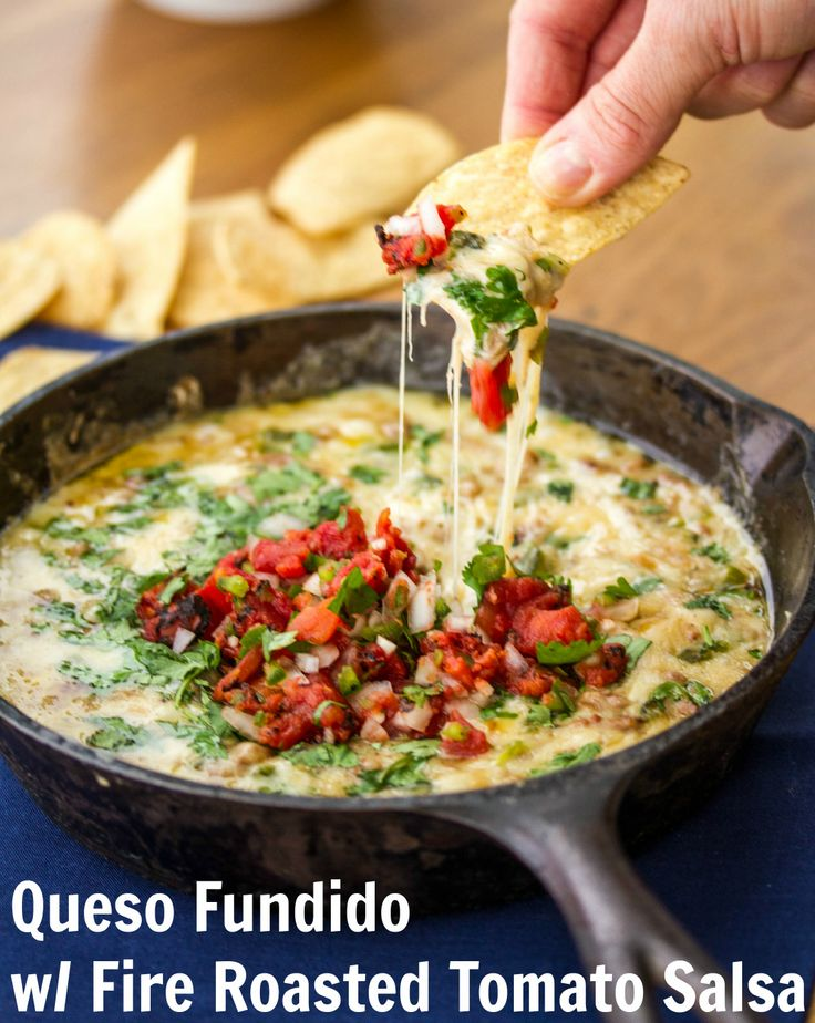 QUESO FUNDIDO WITH FIRE ROASTED TOMATO SALSA Food