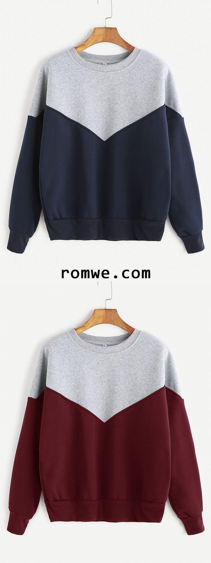 Contrast Dropped Shoulder Seam Sweatshirt