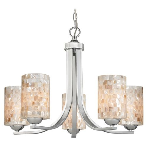 Modern Chandelier with Mosaic Glass in Polished Chrome Finish | 584-26 GL1026C | Destination Lighting