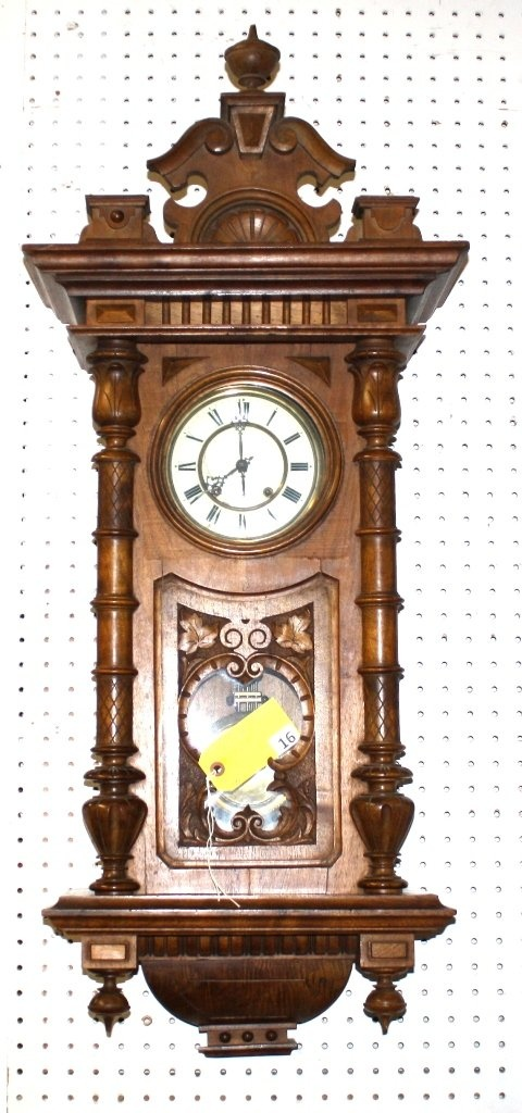 FANCY CARVED WALNUT VICTORIAN HANGING WALL CLOCK WITH PENDULUM AND KEY