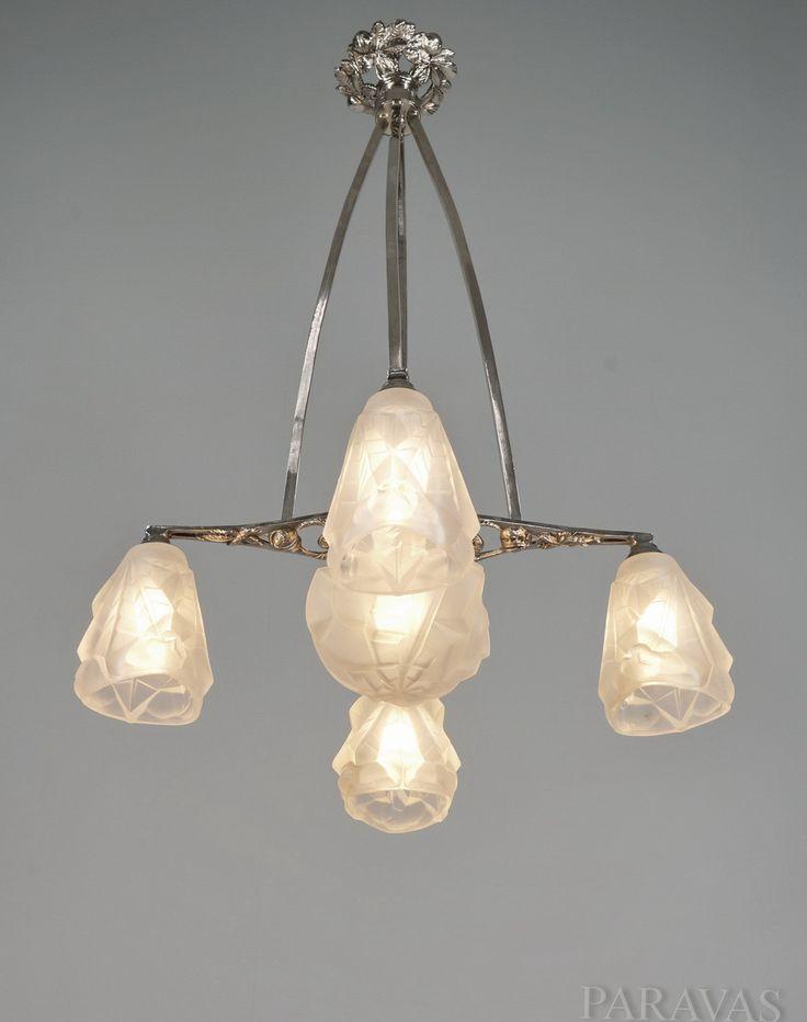 DEGUÉ : French art deco chandelier with Degué shades. (paravas-ebay)