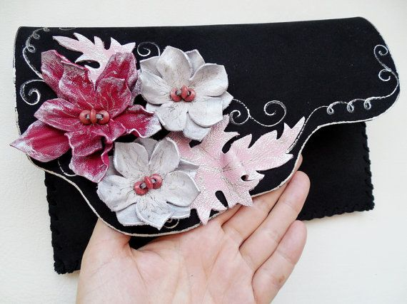Floral clutch purse Black floral leather clutch by spiculdegrau