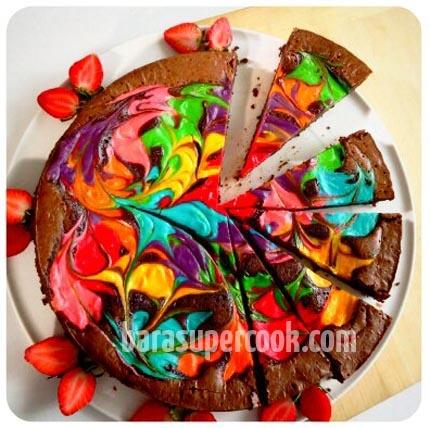 Rainbow Brownies Cheesecake : barasupercook: Rainbows Brownies, Brownie Cheesecake, Rainbow Cheesecake, Food, Rainbows Cheesecake, Rainbows Treats, Brownies Rainbows, Fetterson Cheesecake, Brownies Cheesecake