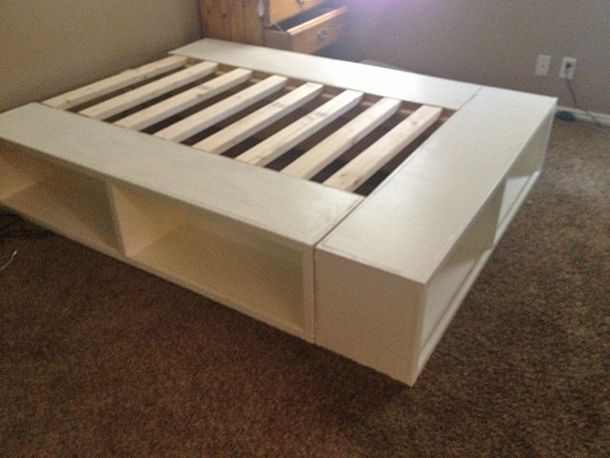16 Gorgeous DIY Bed Frames- Tutorials, including this DIY storage bed by Ana white from Happy Huntsman!