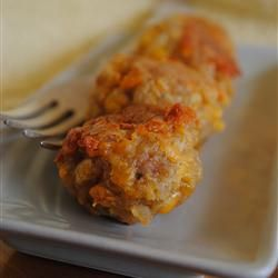 Sausage Balls~ 1 lb ground pork, 2 cups biscuit baking,  1 lb shredded sharp cheddar cheese: 350 ° F oven. In a large bowl, combine raw sausage, biscuit baking mix. Add cheese and mix again. Form into walnut size balls and place on baking sheets (lined with parchment paper). Bake for 20 to 25 minutes, until golden brown and sausage is cooked through.