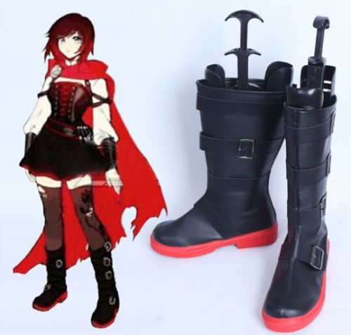 NEW RWBY Season 4 RUBY Rose Cosplay Shoes Black Boots custom made
