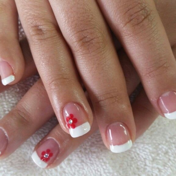 French With Red Flower Nails Pinterest Manicure