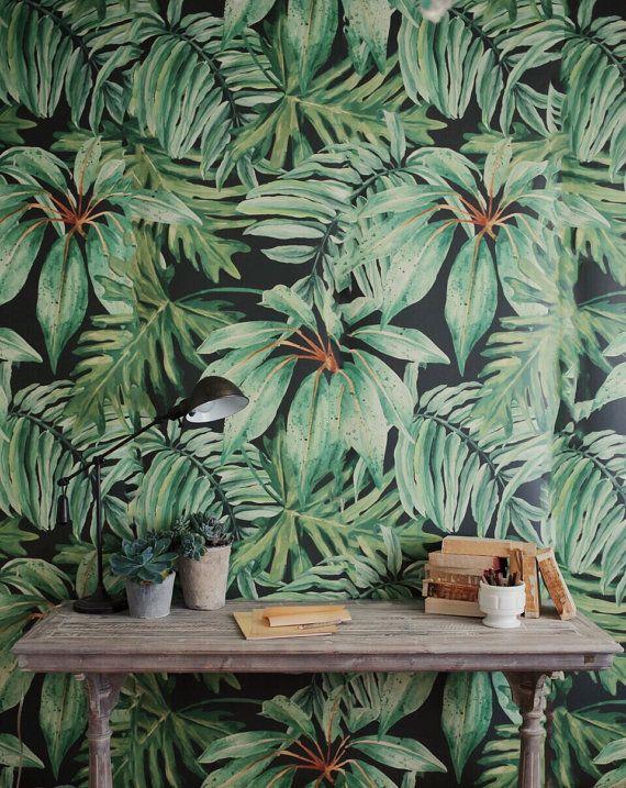 Feuille de bananier murale grande aquarelle par anewalldecor
