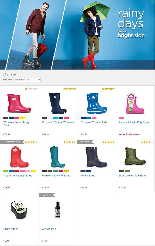 Bottes de Pluie Crocs pas Cher promo bottes, découvrez la collection bottes de pluie femme, homme et enfants sur Crocs.fr, des petits prix à partir de 24.99 €
